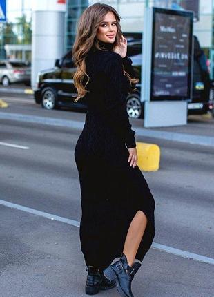 Вязаное теплое платье миди платье водолазка коса разные цвета