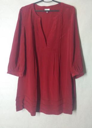 Блуза шелк шелковая бордовая разлетайка