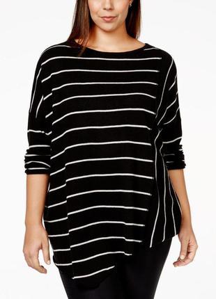 Тонкий черный свитер в белую полоску, оверсайз, асимметричный ...