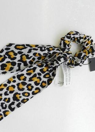 ✅ резинка для волос атлас с косынкой принт леопард