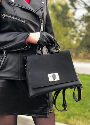 Черная стильная сумка пресс кожа нубук