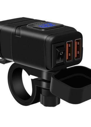 USB зарядка на руль З ВОЛЬТМЕТРОМ, 2 Х USB, 12-24 V WUPP, + КРІПЛ