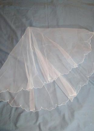 Фата весільна з вишивкою біла свадебная белая