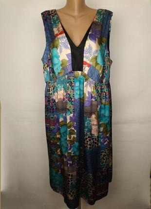 Платье шелковое легкое в стильный принт большой размер monsoon...