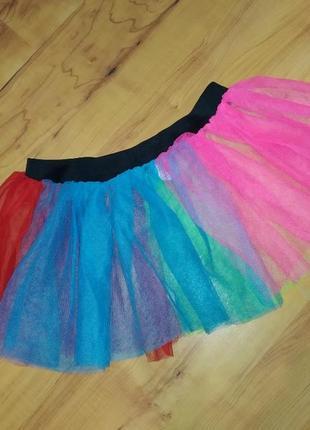 Яркая цветная юбка из фатина  для танцев 🌈 радуга веселка