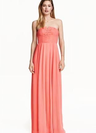 Платье хс-с-м макси в пол коралл плиссированное новое
