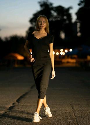 Трикотажное платье длинное Lameia черное