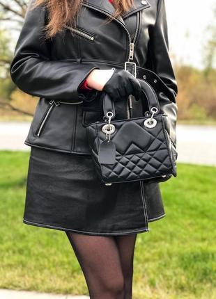 Черная стильная сумка пресс кожа на плечо клатч