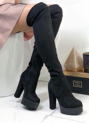 ❤ женские черные демисезонные осенние  высокие сапоги ботфорты...