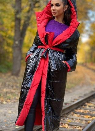 Куртка двусторонняя одеяло длинная с капюшоном пуховик