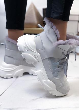 ❤ женские серые осенние / зимние  ботинки сапоги ботильоны на ...