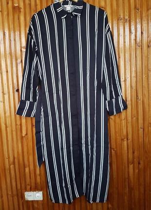 Стильное платье-рубашка h&m в полоску