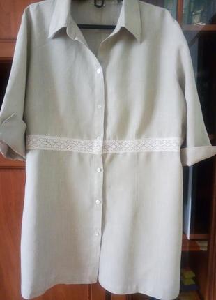 Актуальная льняная блуза/рубашка с кружевом