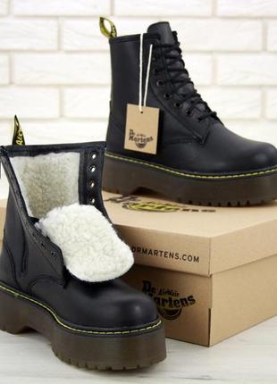Женские зимние кожаные ботинки/ сапоги/ угги dr. martens на пл...