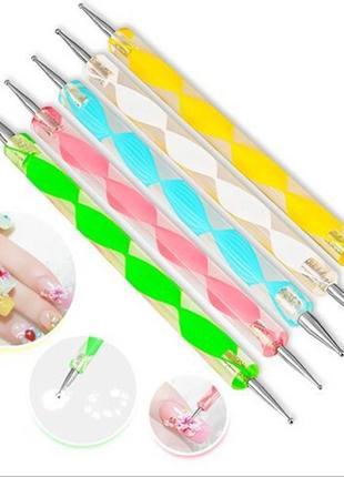 Набор разноцветных дотсов с прозрачной ручкой 5 шт