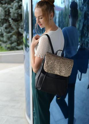 Стильный женский черный городской рюкзак с глиттером , супер ц...