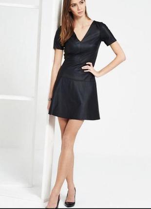 Платье замшевое с кожаными вставками