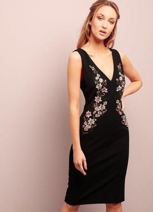 Платье классическое миди с вышивкой new look 10 размер
