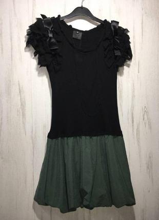 Трикотажное мини платье обманка