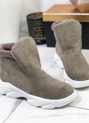❤ женские бежевые зимние замшевые хайтопы тапочки ботинки сапо...