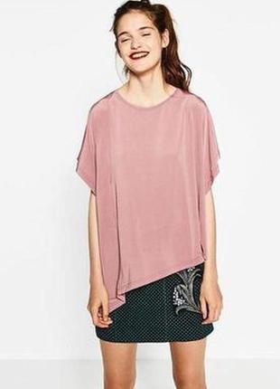 Розовая блуза с асимметричным краем zara oversize / m-xxl