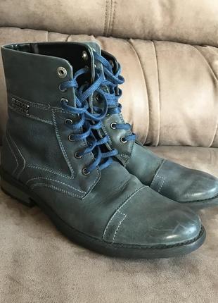 Синие мужские кожаные высокие осенние ботинки на шнурках