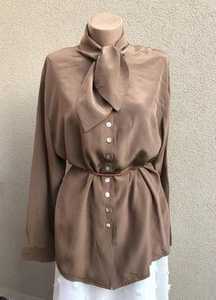 Винтаж,рубаха,блуза,бант по вороту,шелк100%,эксклюзив,большой ...