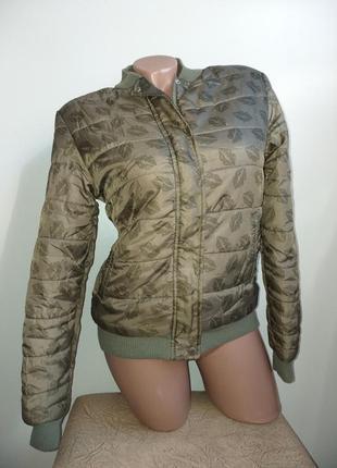 Демисезонная куртка на меху. бомбер. хаки, зеленый, розовый (ф...