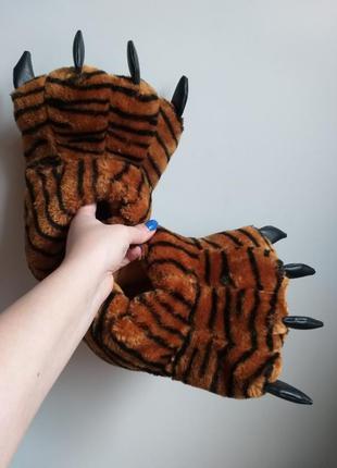 Тапки лапки. теплые домашние тапочки. тапки тигровые (тигра). ...