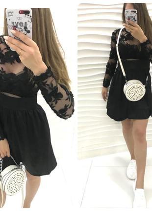 Платье с кружевом сетка