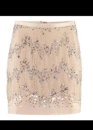 Шикарная нарядная юбка расшитая бисером вечерняя пудровая