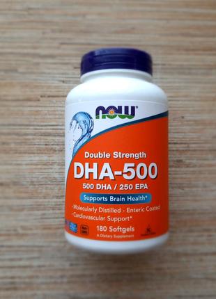 Now Foods, DHA-500, 180 капсул, омега, рыбий жир, США, Америка