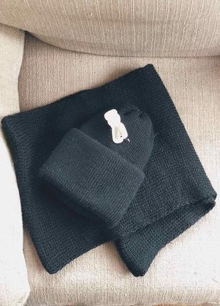 Вязаный набор шапка + хомут. черный