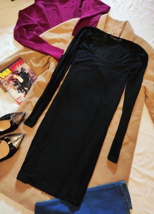 Платье трикотажное чёрное с длинны рукавом тянется