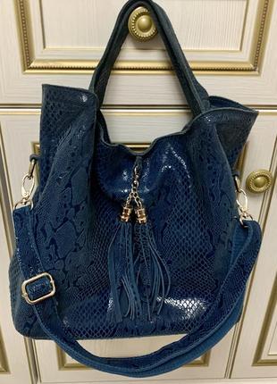 Синяя кожаная сумка натуральная кожа красивый цвет