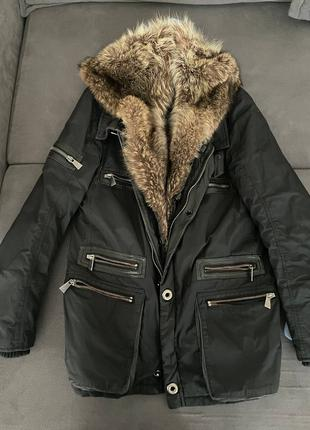 Мужская куртка с мехом волка fontanelli