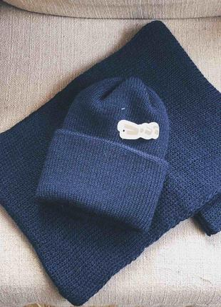 Вязаный набор шапка + хомут. синий