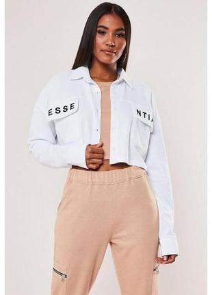 Белая короткая кофта свитшот куртка спортивная кроп топ рубашк...