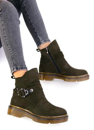 Женские ботинки нубук оливка