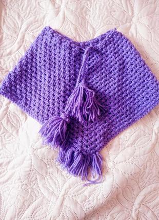 Теплая вязанная накидка-пончо на девочку 2х лет