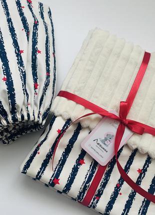 Комплект в кроватку плед одеяло + простынь на резинке