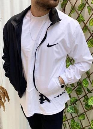 Ветровка мужская nike белая черная / вітровка куртка олимпийка...