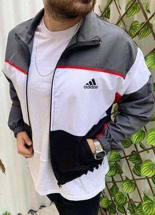 Ветровка мужская adidas серая / вітровка куртка олимпийка адид...