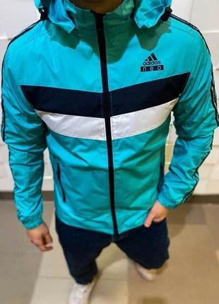 Ветровка мужская adidas голубая / вітровка куртка курточка ади...