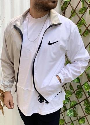 Ветровка мужская nike белая бежевая / вітровка куртка олимпийк...