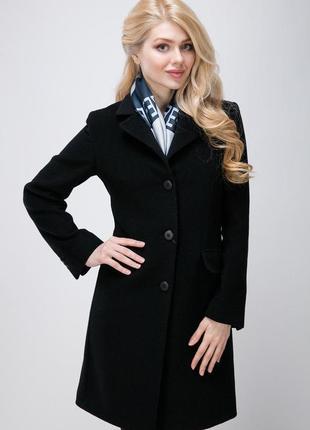 Брендовое черное демисезонное пальто с карманами northmoor вис...