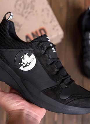 Мужские кожаные кроссовки Pitbull Black