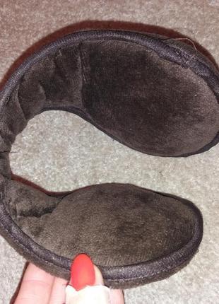 Зимние теплые мужские наушники шапка коричневые наушники от ветра
