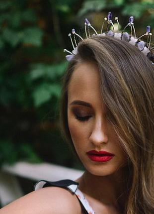 Диадема, корона из аметиста и розового кварца ′аромат сирени′