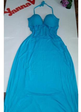 Платье летнее в пол голубое длинное 50 52 размер sale новое